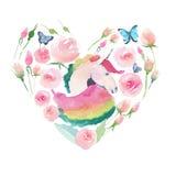Jaskrawy uroczy śliczny czarodziejski magiczny kolorowy serce jednorożec z wiosna pastelowymi ślicznymi pięknymi kwiatami ilustracji