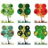 jaskrawy ustaleni drzewa Ilustracji