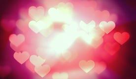 Jaskrawy walentynki serce Zaświeca tło Fotografia Royalty Free