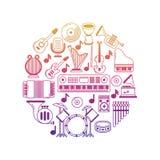 Jaskrawy wektorowy muzyczny plakat z instrument muzyczny ikonami ilustracja wektor