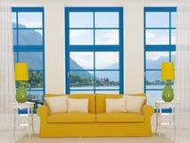 Jaskrawy wnętrze z żółtą kanapą Obrazy Stock