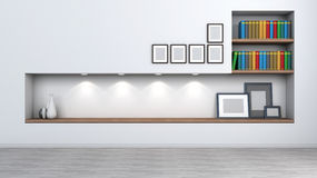 Jaskrawy wnętrze z półką dla książek i akcesoriów Zdjęcia Stock