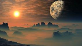Jaskrawy wschód słońca Nad Mglistymi planeta obcymi ilustracji