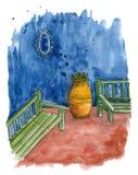 Jaskrawy wschodni nakreślenie tarasuje z ławkami i wazą z rośliną ilustracji