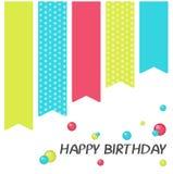 Jaskrawy wszystkiego najlepszego z okazji urodzin kartka z pozdrowieniami w minimalisty stylu Nowożytna urodzinowa odznaka lub et Zdjęcia Royalty Free