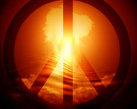 Jaskrawy wybuch bomby atomowej ilustracja wektor