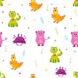 Jaskrawy wzór z ślicznymi potworami Może używać dla tkaniny, papierowy opakowanie, pokrywa Zdjęcia Royalty Free