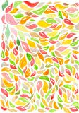Jaskrawy wzór z czerwieni, koloru żółtego i zieleni liśćmi, Ilustracja Wektor