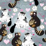Jaskrawy wzór z enamored kotami Obraz Royalty Free
