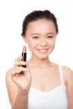 Jaskrawy zbliżenie portreta obrazek piękna kobieta z pomadką Zdjęcia Stock