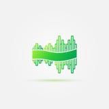 Jaskrawy - zielona rozsądnej fala muzyki ikona Zdjęcia Royalty Free