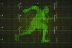 Jaskrawy - zielony ludzki elektrokardiogram w bieg kształcie na ciemnym monitorze, zdrowy życia pojęcie ilustracja wektor