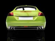 Jaskrawy - zielony samochód Na Czarnym tło plecy widoku Zdjęcia Royalty Free