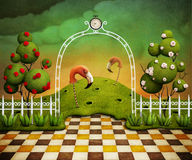 Jaskrawy - zielony tło z łukiem, różami i flamingami. ilustracja wektor