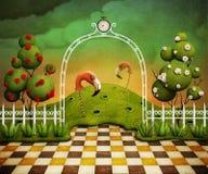 Jaskrawy - zielony tło z łukiem, różami i flamingami. Zdjęcie Royalty Free