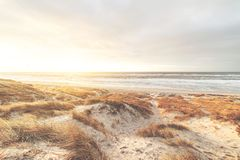 Jaskrawy zmierzch w diunach w Dani zdjęcia royalty free