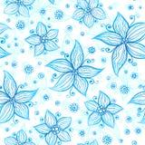 Jaskrawych błękitnych ozdobnych kwiatów wektorowy bezszwowy wzór Fotografia Royalty Free