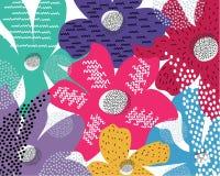 Jaskrawych kolorów kolorów wektoru wzoru Doodle sztuki jaskrawy chodnikowiec z różnymi kształtami i teksturami ilustracja wektor