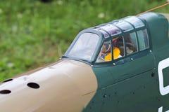 Jaslo,波兰- 2018年7月1日:式样第二次世界大战的涡轮螺旋桨发动机军事喷气式歼击机 飞机老模型的Airshow  免版税图库摄影
