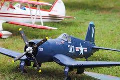 Jaslo,波兰- 2018年7月1日:式样第二次世界大战的涡轮螺旋桨发动机军事喷气式歼击机 飞机老模型的Airshow  图库摄影