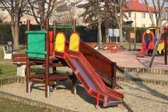 Jaslo, Poland - 9 2 2019: children`s slide for climbing in the park. Multi-colored toys for children. Equipment for active royalty free stock photo
