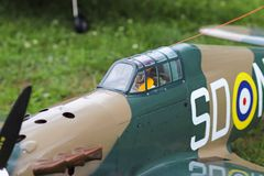 Jaslo, Poland - july 1 2018:Model turboprop military jet fighter of the Second World War. Airshow of the old models of airplanes. royalty free stock images