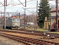 Jaslo, Poland - march 30, 2018: Train on a railway station. Transport system. Freight and passenger transportation. A work on a ra stock images