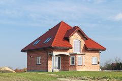 Jaslo, Poland - 7 8 2018: Modern design of a small single-family house located in a rural area. Designing buildings and landscape. New home for people. Red stock photo
