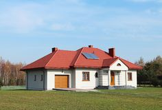 Jaslo, Poland - 7 8 2018: Modern design of a small single-family house located in a rural area. Designing buildings and landscape. New home for people. Red stock photography