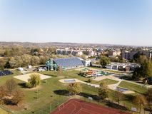 Jaslo, Poland - Oct. 15 2018: MOSiR Municipal Sports Complex with an indoor swimming pool with a waterslide and sports fields. Mod royalty free stock photography