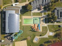 Jaslo, Poland - Oct. 15 2018: MOSiR Municipal Sports Complex with an indoor swimming pool with a waterslide and sports fields. Mod royalty free stock photos
