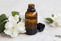 Jasmijnetherische olie Fles jasmijn aromatherapy olie met D stock afbeeldingen