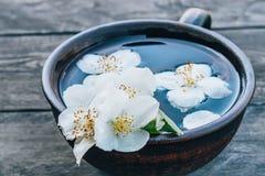 Jasmijnthee met jasmijnbloemen op een donkere achtergrond stock afbeeldingen
