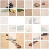 Jasmin et pierres sur un sable Photo libre de droits