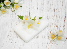 Free Jasmin Flowers And Soap Royalty Free Stock Images - 74322799