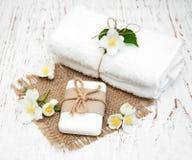 Jasmin flowers and soap Stock Photo
