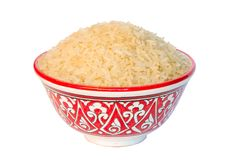 Jasmin Rice bowls. Isolated white background closup Royalty Free Stock Images