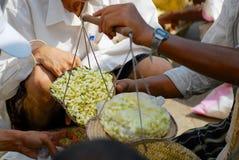Jasmine βάρους ατόμων λουλούδια στην αγορά σε Sanaa, Υεμένη Στοκ Φωτογραφίες