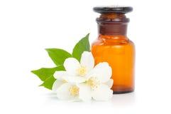 Jasmine with bottle. Aromatherapy. Jasmine with bottle isolated on white background Stock Photo