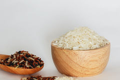 Jasmine Brown Rice. Concepts,Jasmine Brown Rice Jasmine rice on wooden ladle royalty free stock images