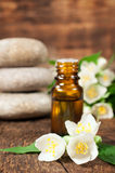 Jasmine essential oil for aromatherapy Stock Image