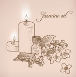 Jasmine essential oil and candles Stock Photo