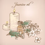 Jasmine essential oil and candles Stock Photography