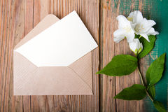 Jasmine flower and envelope Royalty Free Stock Photos