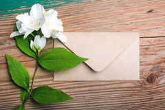 Jasmine flower and envelope Royalty Free Stock Photography