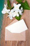 Jasmine flower and envelope Royalty Free Stock Images