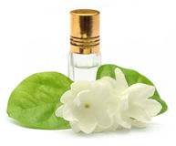Jasmine flower with essence bottle Stock Photo