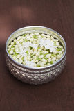Jasmine. Flower flow in a aluninum bowl Royalty Free Stock Images