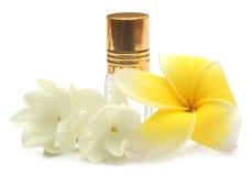 Jasmine flower and frangipani with perfume bottle Stock Photos