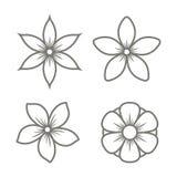Jasmine Flower Icons Set en el fondo blanco Vector Imágenes de archivo libres de regalías